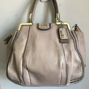 COACH Pink Leather Shoulder Bag W/ Weave Trim
